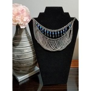 Stony silver collar necklace